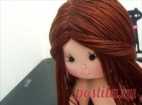 Cabelo para boneca de pano /penteado fácil de fazer (lã) - Como Faço