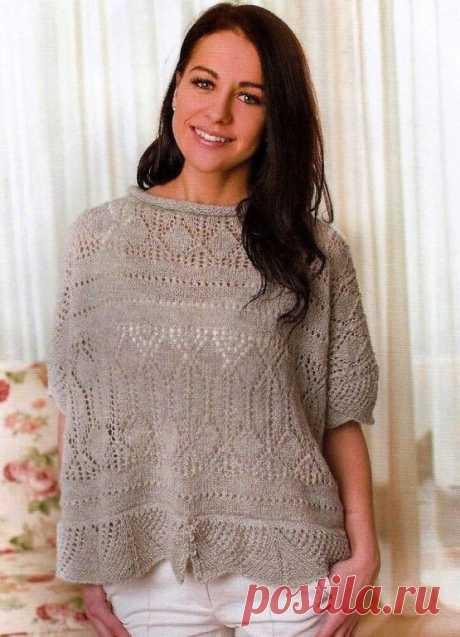 Ажурный пуловер спицами  #провязание #пуловер