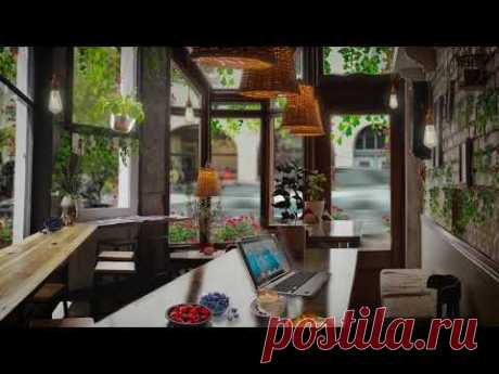 Coffee Shop Ambience ☕Cozy Rainy Day [ASMR Study & Relax] keyboard typing + Light Rain + people