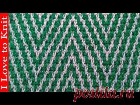 Узор двухцветная зебра Вязание спицами со схемой и описанием