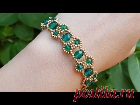 Браслет из бисера и бусин/Бисероплетение/Beaded bracelet/Beaded bracelet Diy/