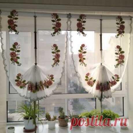 Junwell Новое Розовое махровое вышивка лента римские Шторы дома волна Европейской Гостиная Кухня балкон Voile 1 шт. купить на AliExpress