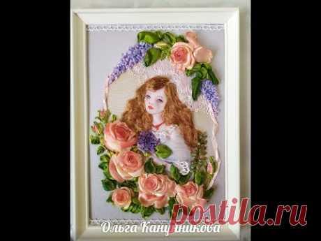 """Моя вышивка """"Девушка в цветах"""". My embroidery """"A girl in Flowers""""."""