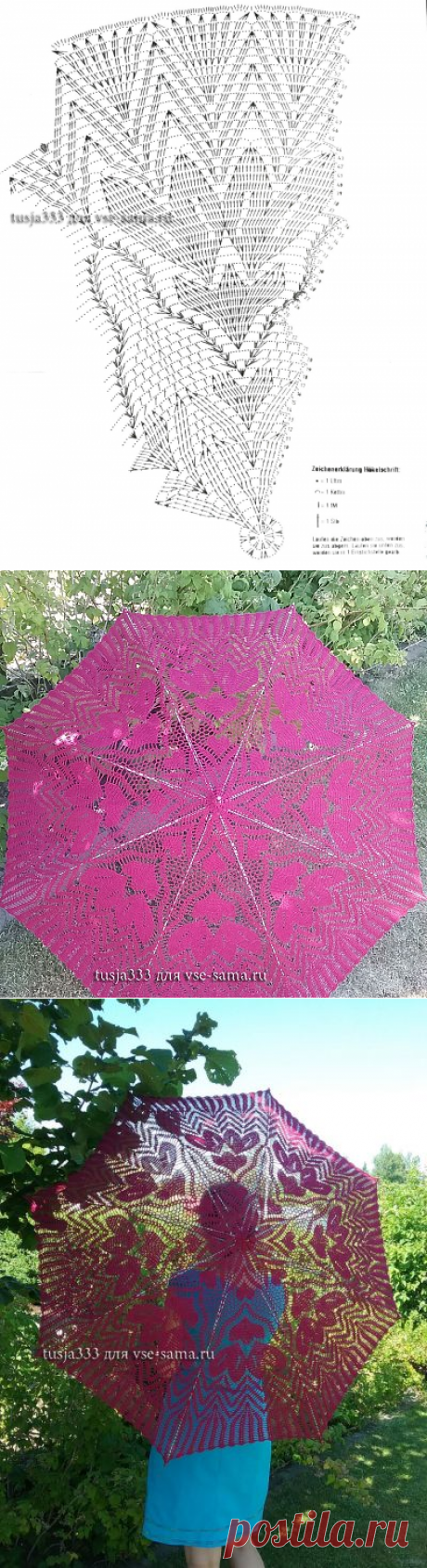 Мастер-класс - Зонт красные цветы. Описание, схема и выкройка