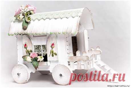 Домик на колесах из картона и палочек от мороженого — Сделай сам, идеи для творчества - DIY Ideas
