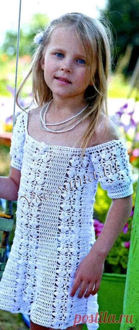 Платье крючком и повязка на голову - Детские платья, сарафаны, туники крючком