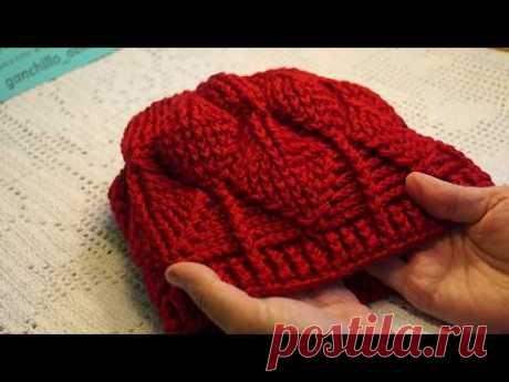 """Красная шапочка рельефными столбиками, узор""""Листья"""",crochet hat (шапка № 152)"""