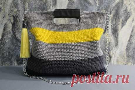 Описание вязания сумочки на каждый день (из цветной джутовой пряжи) | ДОМ и ТВОРЧЕСТВО | Яндекс Дзен
