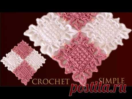 Como tejer a crochet tapete camino de mesa punto cruz reversible imitación bordado a mano