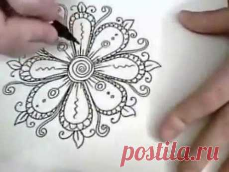 ornament Flowers are Fun_ - Ink Drawing