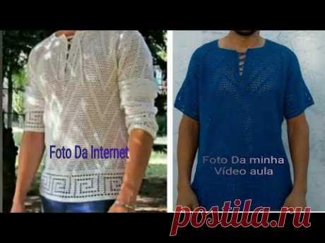 Camisa masculina de crochê tamanho M parte 2