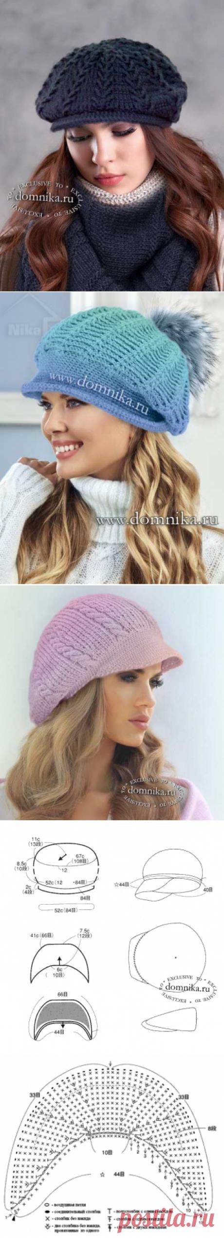 Женские вязаные кепки и береты - 8 фото, схемы, описания женских кепи