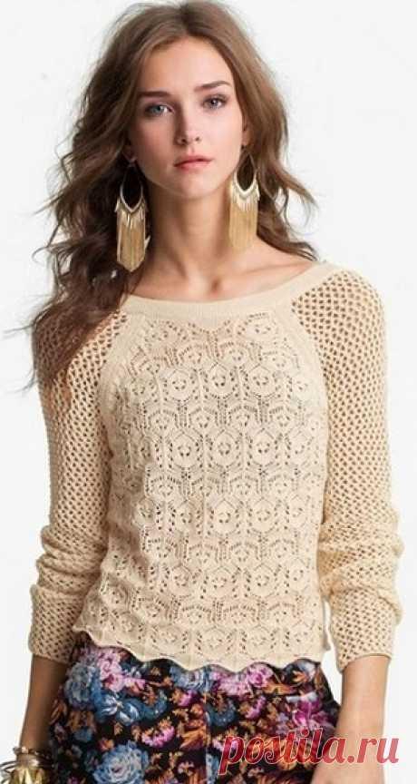 Красивые узоры спицами для блузок, топов и пуловеров