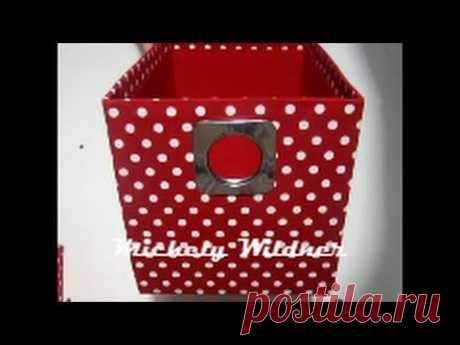 caixa de papelão coberta com tecido -Diy - YouTube
