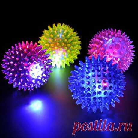 Горячая 1 шт. разные цвета мигающий свет высоко прыгающий ПЭТ ежа мяч Творческий щенок игрушка Товары для собак подарок купить на AliExpress