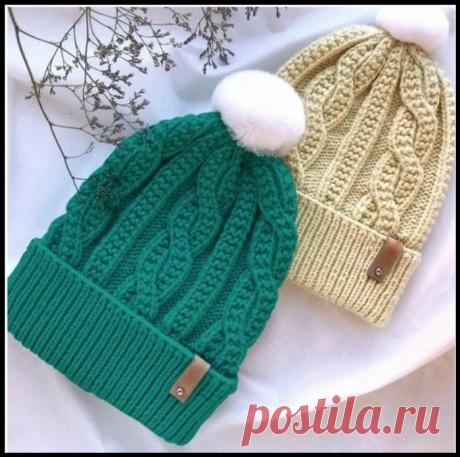 Очень милая шапочка со «Жгутами» - описание и схема вязания спицами.