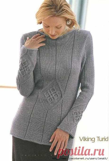 Пуловер с фактурным узором. Вязание спицами