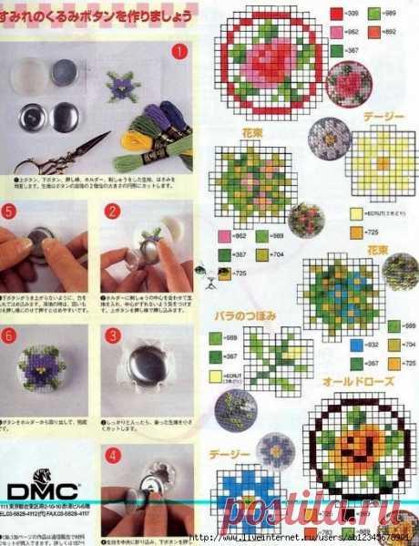 El elemento de la decoración – los botones bordados. Los esquemas y la idea.