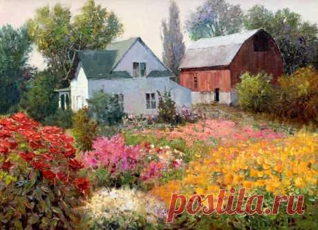 Kent R. Wallis (американский художник) - Цветущий сад