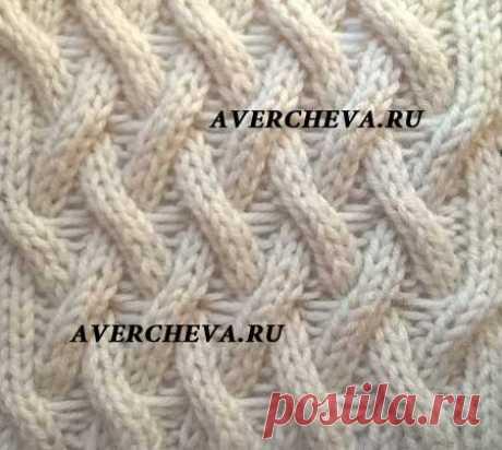 Узор спицами 971 « Необычная плетенка» | каталог вязаных спицами узоров
