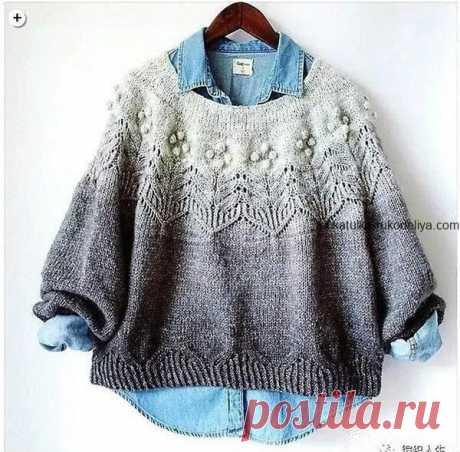 Пуловер с красивой кокеткой спицами. Схема вязания пуловера спицами женский | Шкатулка рукоделия. Сайт для рукодельниц.