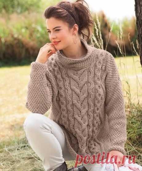 Бежевый пуловер - Вязаные модели спицами для женщин