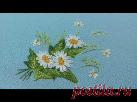 Вышивка Гладью | красивый мини букет из ромашек | Long and Short Stitches| chamomile