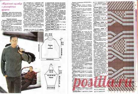 МК по вязанию спицами мужского пуловера с красивым рельефным узором с подробным описанием и схемой