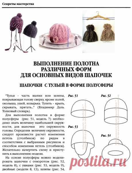 Конструирование полотна различных форм для основных видов шапок