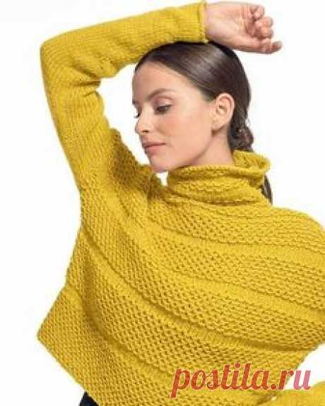 Смотрите, какой свитер с фантазийным узором. Укороченная модель с большим воротником и длинными рукавами, очень оригинальная вещь. Конечно,…