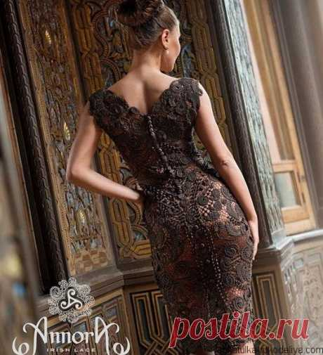 """Великолепное платье """"Магнолия"""" Дизайнерское вечернее платье """"Магнолия"""" от Annora, цвета горький шоколад.Подборка схем."""