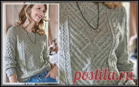 Галкин Дневник: Женский пуловер спицами, с рельефным узором