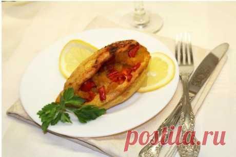 Куриные кармашки с ананасами и болгарским перцем