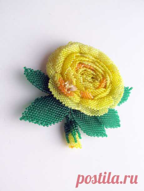 Yellow rose | biser.info - all about beads and beaded creativity