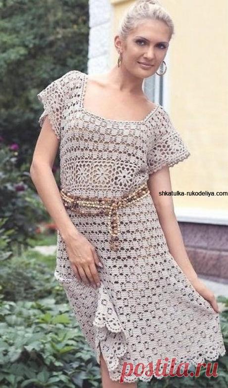 Женское летнее платье вязаное крючком Женское летнее платье вязаное крючком. Платье крючком разными узорами из льна со схемами