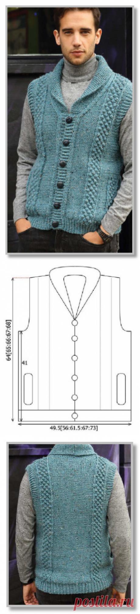 Вязание спицами. Описание мужской модели со схемой и выкройкой. Однотонный жилет на пуговицах, с шалевым воротнитком. Размеры: S[M:L:XL:2XL]