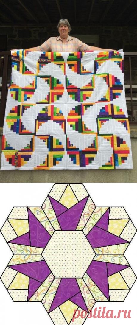 Образцы лоскутных блоков с использованием квадратов и треугольников, ромбов и шестиугольников — Сделай сам, идеи для творчества - DIY Ideas