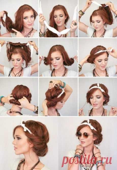 Причёски с платком на голове