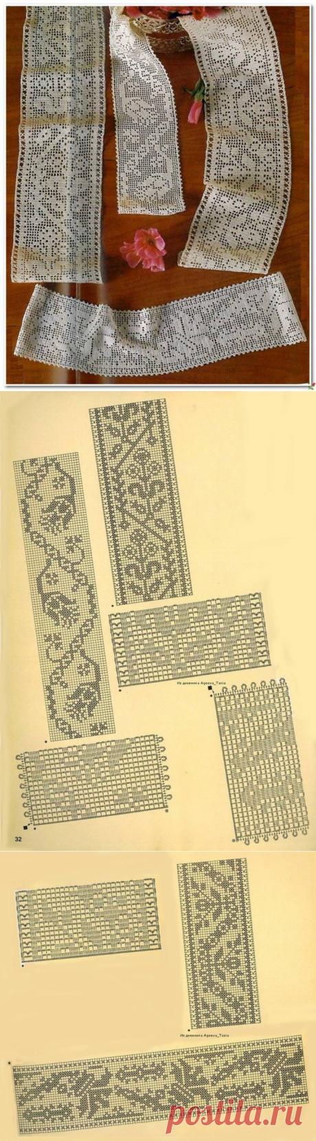 Тесьма в филейной технике крючком. Филейное вязание кайма схемы |