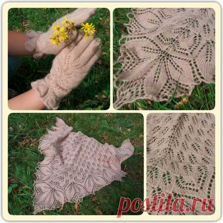 """Shawl of \""""Haruni\"""" from Emily Ross and a Vogue glove - a shawl knitting by spokes a hook the COMPETITION KNITTING by SPOKES 2 - SUMMER, category \\\""""We knit for women \\\"""""""