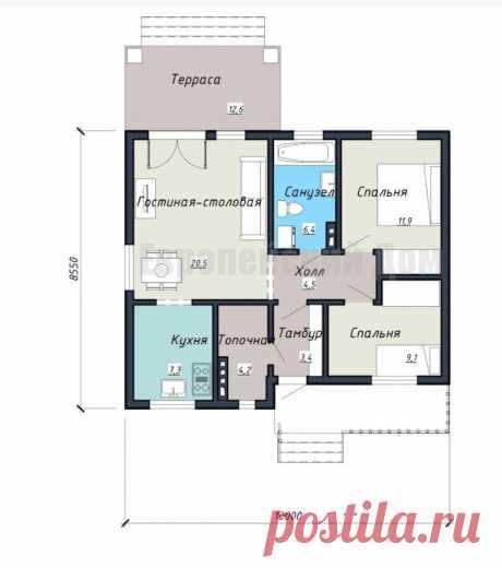 Удивительно удобный по планировке небольшой дом с 2 спальнями | Проекты Домов. Строительство. | Яндекс Дзен