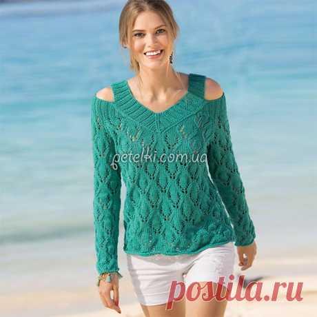 Изумрудный ажурный пуловер