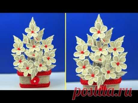 Как сделать джутовый цветок с вазой / джутовое искусство и ремесло / дизайн украшения джутового ремесла