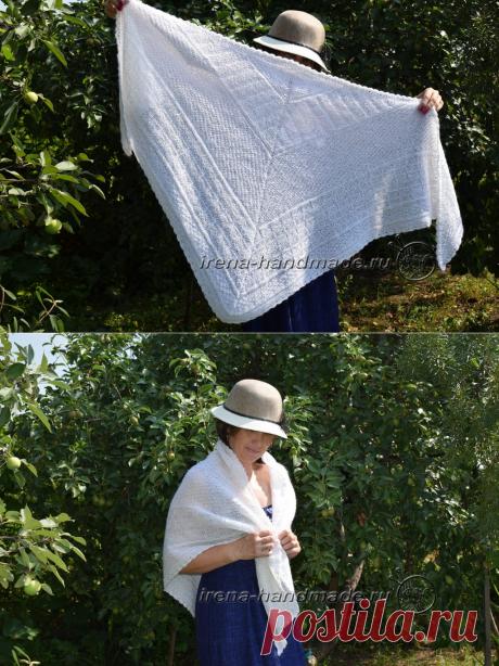 Треугольный платок со средней линией (вязание, схемы и фото) - Irena Handmade