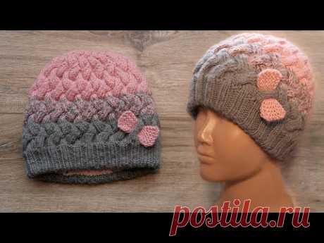 Зимняя детская шапка с теплым подкладом спицами ❄ Winter baby hat🎀