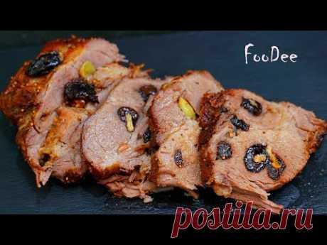 МЯСО на Новый Год 2020: ну очень вкусно и сочно! Пряная свинина на праздничный стол - YouTube  Чтобы приготовить свинину в духовке на Новый Год 2020: • Свинина – 1,8 кг (ошеек) • Соль – 2 ч.л. (по вкусу) • Черный перец – по вкусу • Красный острый перец – 0,5 ч.л. (по вкусу) • Приправа «Средиземноморские травы» - 1 ч.л. https://www.kamis-pripravy.ru/ • Горчица – 2 ст.л. • Мед – 2 ст.л. • Коньяк – 3 ст.л. • Чеснок – 10 зубчиков • Чернослив – 200 гр • Грецкий орех – 10 четвертинок