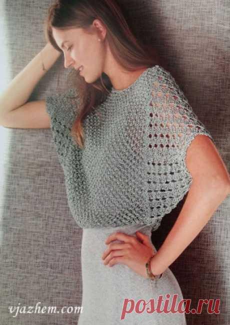 Укороченный ажурный пуловер