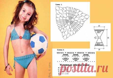 Вязаный купальник для девочки. Детский купальник крючком и спицамиBagiraClub Женский клуб
