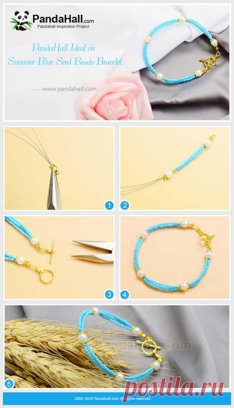 Лето Синий Бисер Браслет тот учебник учит вас сделать летний стиль бисер браслет. Этот браслет синий, цвет неба, чтобы принести счастливое настроение, научиться делать это.