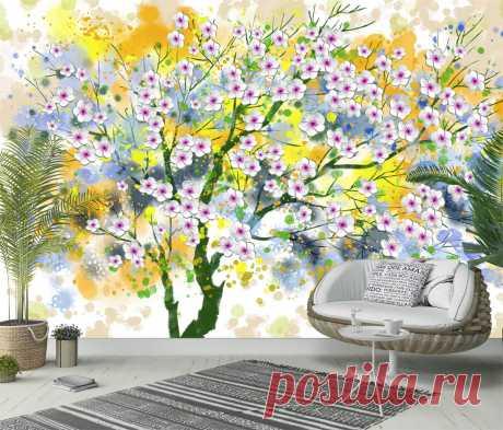 3Д обои с цветущим деревом на ярком акварельном фоне